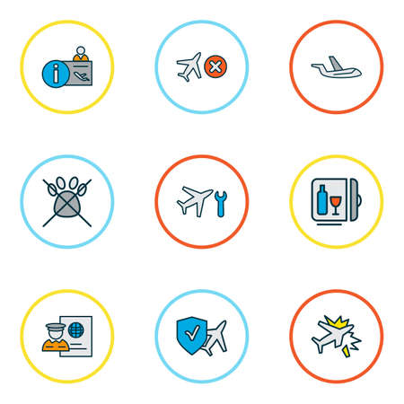 Travel icons colored line set with cancelled flight, aircraft, travel insurance and other airplane repair