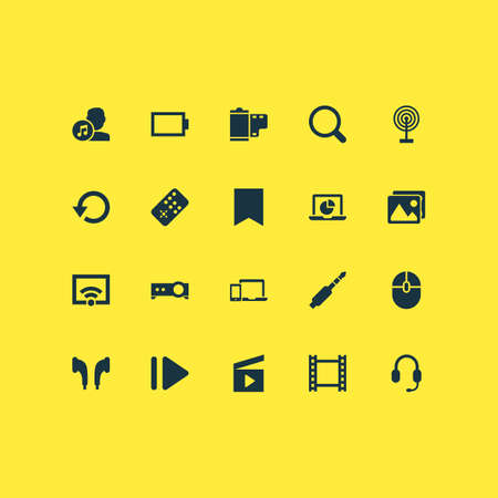 Music icons set with video, picture, film and other controller