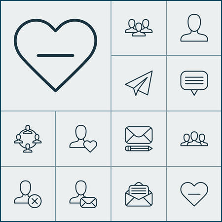 Communication icons set with open envelope, unread letter, favorite and other startup