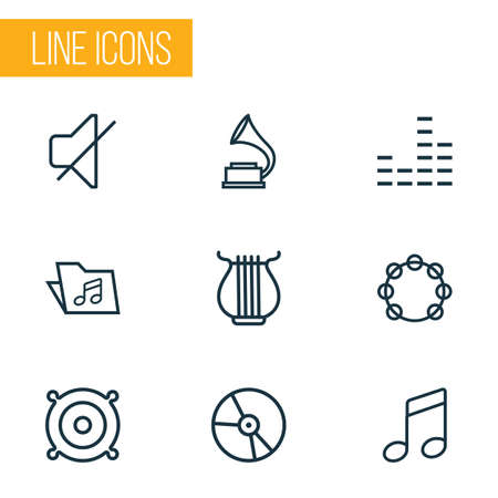 Audio icons line style set with mixer, folder, vinyl and other timbrel  elements. Isolated vector illustration audio icons.