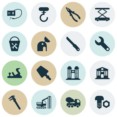 Industry icons set with calipers, construction hoist, pliers and other nippers