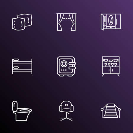 Decor icons line style set with curtain, toilet, cupboard and other cushion