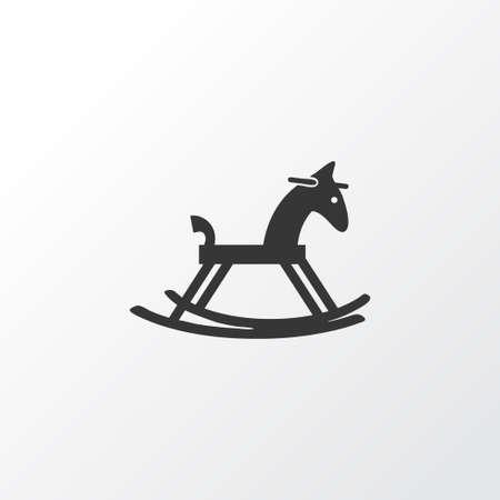 Simbolo dell'icona del cavallo a dondolo. Elemento di pony in legno isolato di qualità premium in stile alla moda.