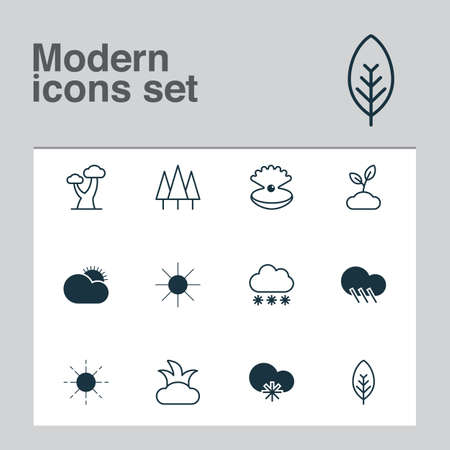 Harmony icons set with big tree, pearl, rain and other raindrop