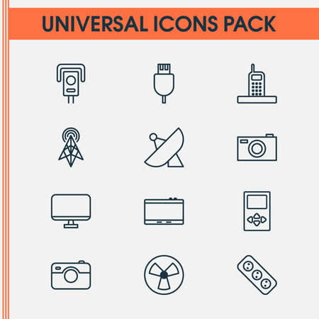 Hardware icons set with media device, tablet, antenna and other universal serial bus   elements. Isolated vector illustration hardware icons.