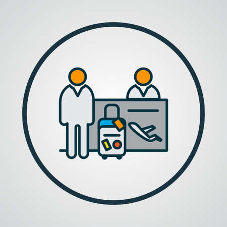 Passenger at registration icon colored line symbol. Premium quality isolated checkpoint element in trendy style.