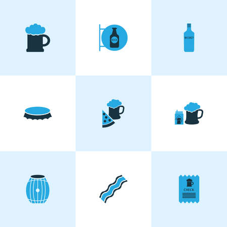 Drink icons colored set with pizza with beer, check, beer with cigarettes and other cheque   elements. Isolated vector illustration drink icons. Stock Illustratie