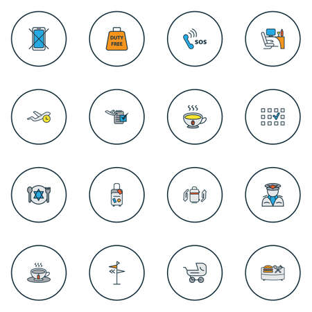 Travel icons colored line set with kosher food, emergency contact, travel bag and other place choice   elements. Isolated vector illustration travel icons.