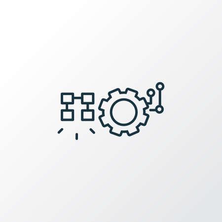 Automated solutions icon line symbol. Premium quality isolated cogwheel element in trendy style. Stock Illustratie