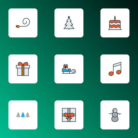 New icons colored line set with present, gift, snowman and other gift   elements. Isolated vector illustration new icons.