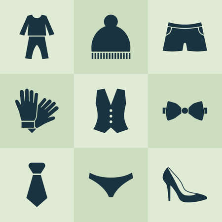 Clothes icons set with knickers, necktie, glove and other mitten   elements. Isolated vector illustration clothes icons. Ilustração