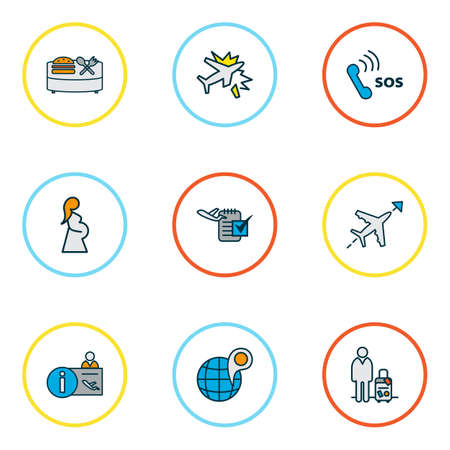 Traveling icons colored line set with flight direction, airport reception, globe with pin and other organizer  elements. Isolated vector illustration traveling icons. Stok Fotoğraf - 124875320