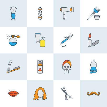 Barbershop icons colored line set with curly hair, hair dryer, straight razor and other barbershop   elements. Isolated vector illustration barbershop icons. Иллюстрация