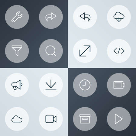 Interface icons line style set with return, base, cloud and other repair   elements. Isolated vector illustration interface icons.