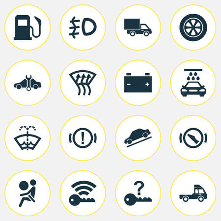 Automobile icons set with signal, battery, washer fluid and other accumulator elements. Isolated vector illustration automobile icons. Ilustração Vetorial