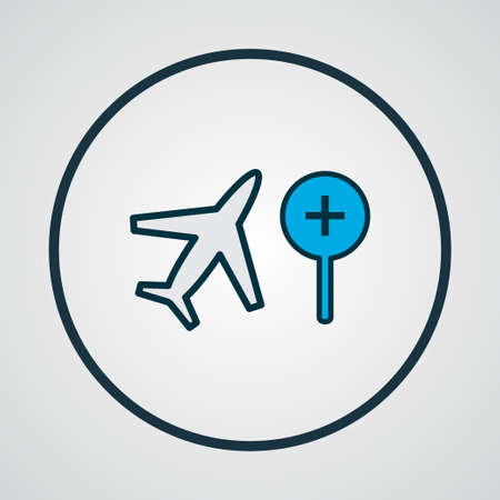 Search flight icon colored line symbol. Premium quality isolated find airplane element in trendy style.