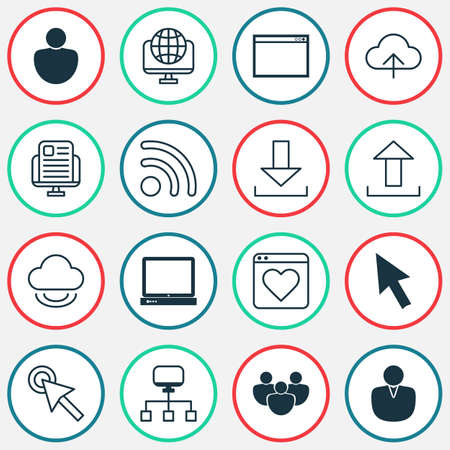 Web icons set with group, transfer, favorite and other cursor   elements. Isolated vector illustration web icons. Ilustração
