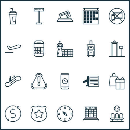 Traveling icons set with compass, plane departure, calculator and other seats   elements. Isolated vector illustration traveling icons.