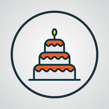Birthday dessert icon colored line symbol. Premium quality isolated cake element in trendy style. Stock Illustratie