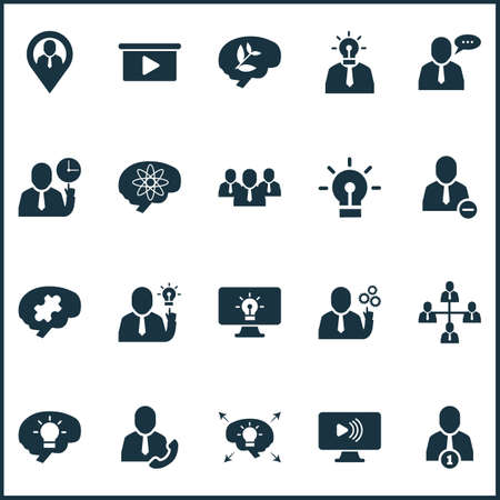 Teamwork icons set with best worker, team structure, team time and other creative   elements. Isolated vector illustration teamwork icons.