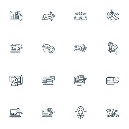 Search icons line style set with marketing analytics, events calendar, mixed content and other profile   elements. Isolated vector illustration search icons.