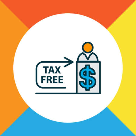 Tax free icon colored line symbol. Premium quality isolated cashier element in trendy style. Ilustração