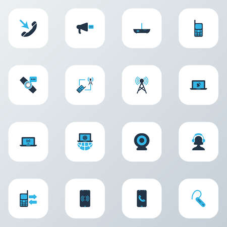 Telecommunication icons colored set with smart watch notification, communication tower, incoming call and other info transfer   elements. Isolated vector illustration telecommunication icons. Stock Illustratie