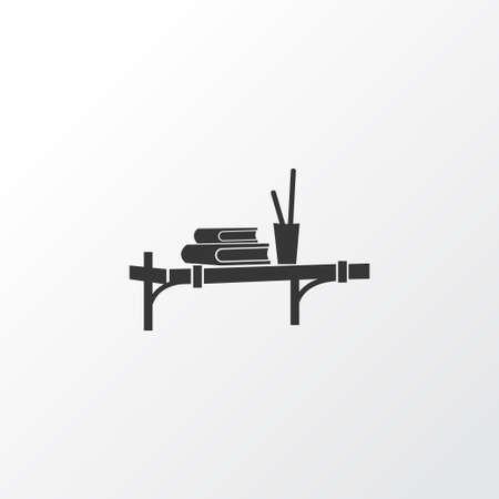Wall shelf icon symbol. Premium quality isolated bookshelf element in trendy style.