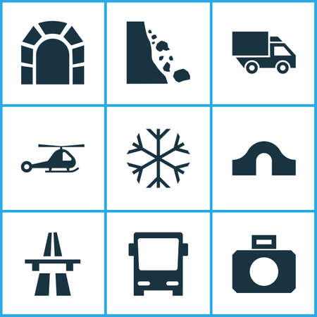 Shipment icons set with helicopter, start of motorway, falling rock and other subway   elements. Isolated vector illustration shipment icons.