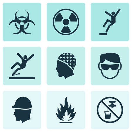 Sign icons set with non potable water, slippery area, radioactive and other drinkable  elements. Isolated vector illustration sign icons.
