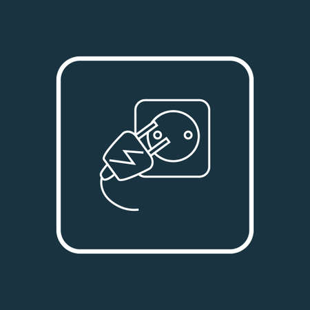 Electric socket icon line symbol. Premium quality isolated wire element in trendy style. Ilustrace