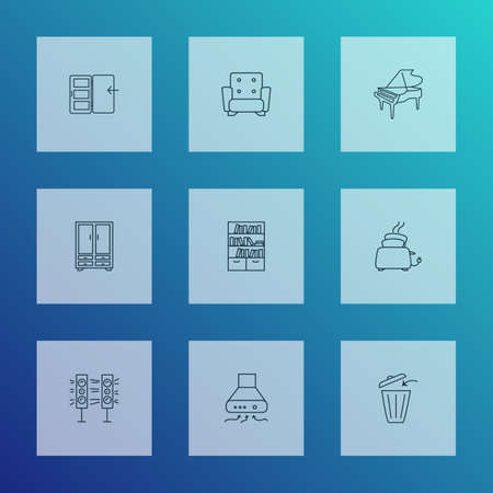 Interior icons line style set with exhaust hood, sound system, toaster and other bookcase   elements. Isolated vector illustration interior icons.