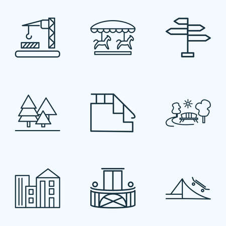 Urban icons line style set with park, skate park, forest and other outdoor   elements. Isolated vector illustration urban icons.