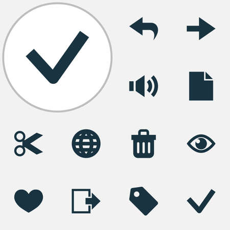 Interface icons set with file, cut, globe and other eye   elements. Isolated vector illustration interface icons.