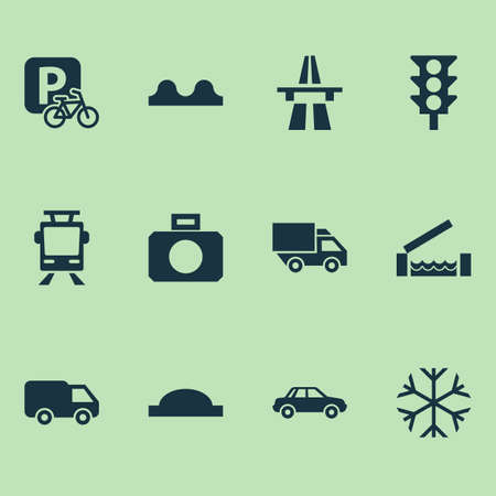Transport icons set with start of motorway, river, bumpy and other van  elements. Isolated vector illustration transport icons. Standard-Bild - 124838930