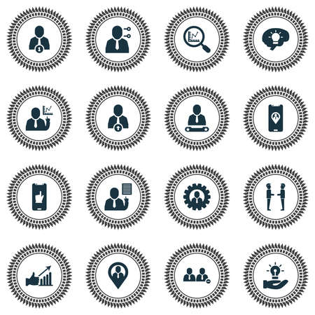 Work icons set with team location, new idea, research and other leadership   elements. Isolated vector illustration work icons.