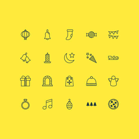 Year icons set with chinese lantern, fireplace, taffy and other toffee candy elements. Isolated vector illustration year icons.