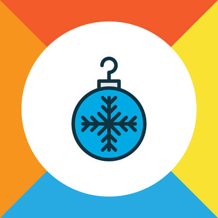 Christmas ball icon colored line symbol. Premium quality isolated tree toy element in trendy style.