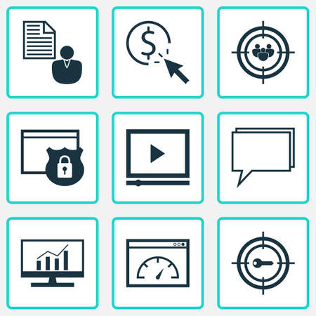 Advertising icons set with website protection, client brief, audience targeting and other report   elements. Isolated vector illustration advertising icons.