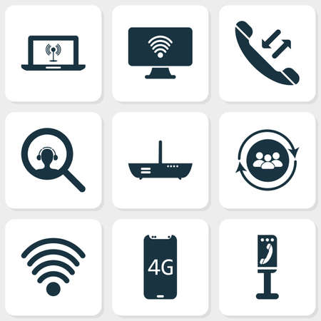 Telecommunication icons set with team communication, computer wifi, payphone and other modem   elements. Isolated vector illustration telecommunication icons.