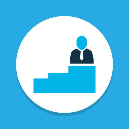 Man on top icon colored symbol. Premium quality isolated career element in trendy style.