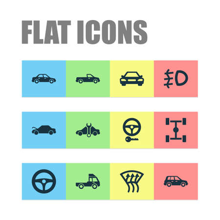 Automobile icons set with crossover, foglight, pickup and other drive control   elements. Isolated vector illustration automobile icons.