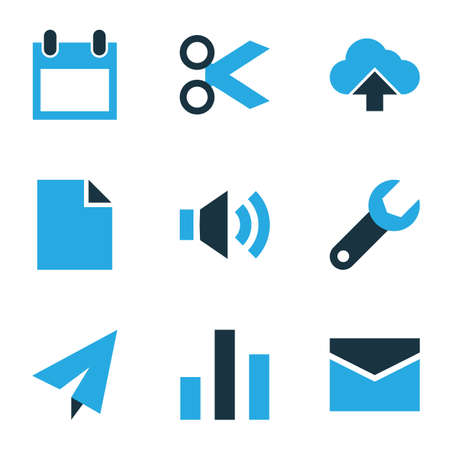 Interface icons colored set with sound, calendar, mail and other volume   elements. Isolated vector illustration interface icons.