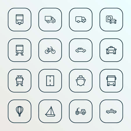 Shipment icons line style set with autobus, scooter, caravan and other moped   elements. Isolated vector illustration shipment icons.
