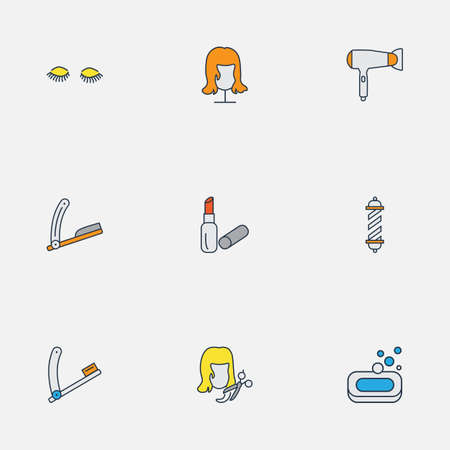 Salon icons colored line set with straight razor, barber pole, razor blade and other pomade   elements. Isolated vector illustration salon icons. Ilustração