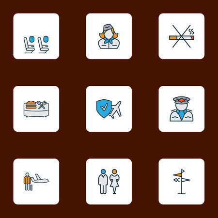 Airport icons colored line set with no smoking, direction, personal plane and other hostess   elements. Isolated vector illustration airport icons. Stock Illustratie