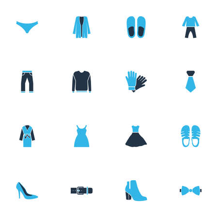 Clothes icons colored set with belt, slippers, pyjamas and other gown   elements. Isolated vector illustration clothes icons.