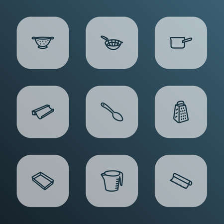 Utensil icons line style set with measuring cup, spoon, tin foil and other baking paper   elements. Isolated vector illustration utensil icons. Ilustração