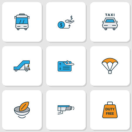 Traveling icons colored line set with gangway, bus, flight board and other vegetarian   elements. Isolated vector illustration traveling icons.