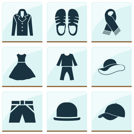 Dress icons set with evening gown, baseball cap, pajamas and other elegant headgear   elements. Isolated vector illustration dress icons.